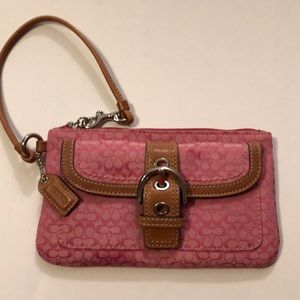 Coach Pink Buckle Front Wristlet